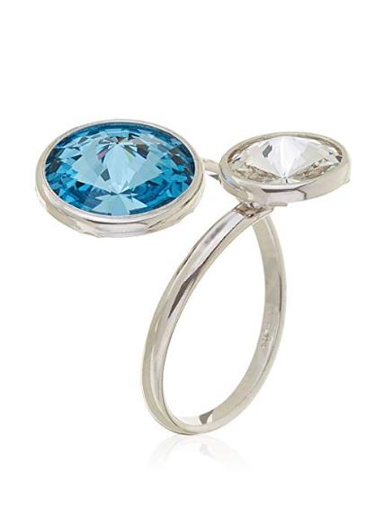 Córdoba Jewels Anillo en Plata de Ley 925 Diseño Tú y Yo Swarovski Agua Marina Cristal