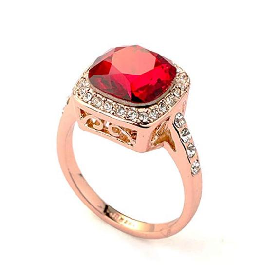 Rubí Crystal made with Swarovski Elements 18k anillo de oro color de rosa plateado